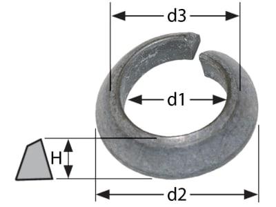 Limesring DIN 74361 C, d1 12,5 mm, d2 23 mm, d3 14,5 mm, H 5 mm