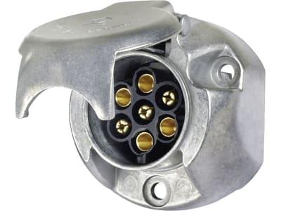 "Herth + Buss Steckdose ""N-Typ"", 7-polig, 6 – 12 V, Flachsteckanschluss, Aluminium, ISO 1724 N-Typ, 51 305 220"