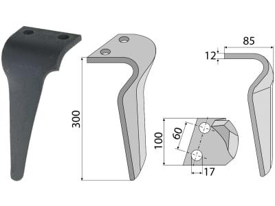 Industriehof® Kreiseleggenzinken links 100 x 300 x 12 mm, Bohrung 17 mm für Breviglieri, Schmotzer, RH-100 DEL