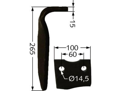 Industriehof® Kreiseleggenzinken links/rechts 100 x 265 x 15 mm, Bohrung 14,5 mm für Howard