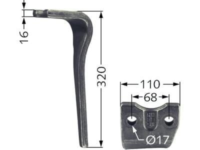 Industriehof® Kreiseleggenzinken links 110 x 320 x 16 mm, Bohrung 17 mm für Kuhn, RH-68-L