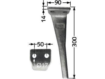 Industriehof® Kreiseleggenzinken links/rechts 90 x 300 x 14 mm, Bohrung 17 mm für Moreni, Sicma