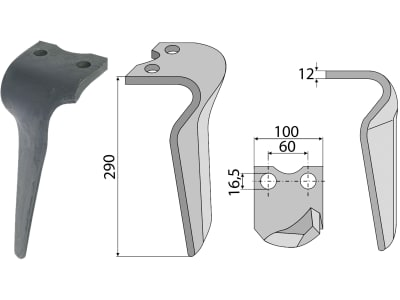 Industriehof® Kreiseleggenzinken links/rechts 100 x 290 x 12 mm, Bohrung 16,5 mm für Morra, Pegoraro