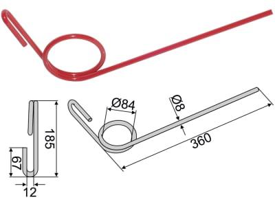Industriehof® Striegelzinken 360 x 8 mm für Stegsted, Taarup, 10.ST-SK
