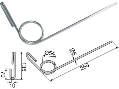 Industriehof® Striegelzinken 260 x 6 mm für Stegsted, 10.ST-270