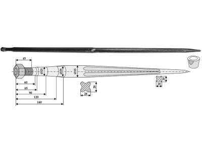 Industriehof® Frontladerzinken 1.400 mm, M 22 x 1,5, spitz, gerade, für Agram, Faucheux, 181300