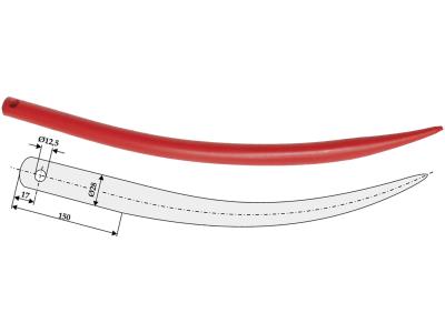 Industriehof® Frontladerzinken 600 mm, Ø 12,5 mm, spitz, gebogen, ohne Schaft für Hydrac, Stoll, 18608