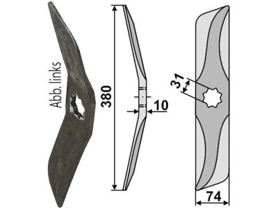Industriehof® Rollspatenmesser links/rechts 380 x 74 x 10 mm Bohrung 31 mm für Hankmo-Tume<br>Omme