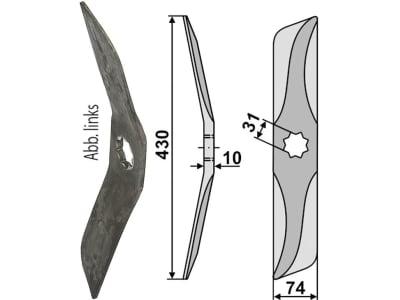 Industriehof® Rollspatenmesser links/rechts 430 x 74 x 10 mm Bohrung 31 mm für Hankmo-Tume<br>Omme