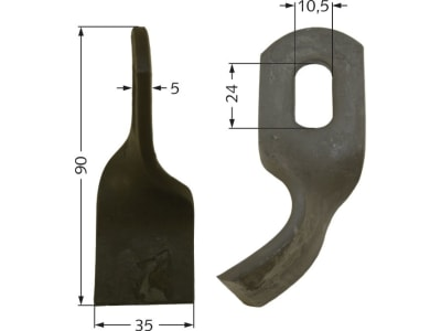 Industriehof® Schlegelmesser gedreht 90 x 35 x 5 mm, Bohrung 24 x 10,5 mm, für Agria, Gutbrod, Doppstadt, Epoke, Fischer, Hansa, Turner, Votex, 63-EPO-54