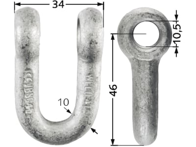 Industriehof® Schäkel gerade, Bohrung 10 mm, für Agria, Epoke, Fischer, Hansa, Votex, 63-HAN-71