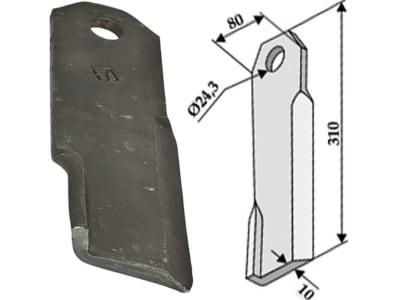 Industriehof® Schlegelmesser links/rechts 310 x 80 x 10 mm, Bohrung 24,3 mm, für Humus Fräsen