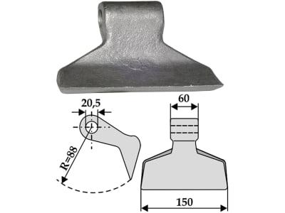 Industriehof® Hammerschlegel Arbeitsbreite 150 mm, Bohrung 20,5 mm, Einbaumaß 60 mm, für Mulcher: Gestin, Humus, Maschio, Sauerburger, Terral, 63-RM-1-20