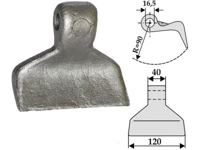 Industriehof® Hammerschlegel Arbeitsbreite 120 mm, Bohrung 16,5 mm, Einbaumaß 40 mm, für Mulcher: Mc Connel, Howard, Seppi, 63-RM-26