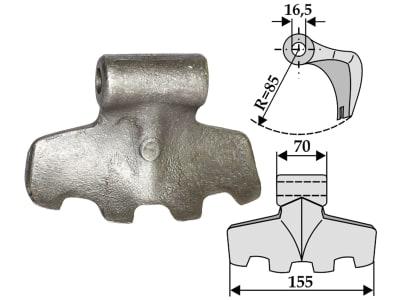 Industriehof® Hammerschlegel Arbeitsbreite 155 mm, Bohrung 16,5 mm, Einbaumaß 70 mm, für Chabas, Fischer, HMF Frei, Palladino, Pegoraro, Rotoram, Votex, 63-RM-3