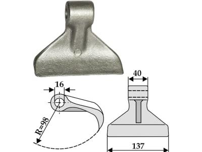 Industriehof® Hammerschlegel Arbeitsbreite 137 mm, Bohrung 16 mm, Einbaumaß 40 mm, für Mulcher: Agritec, Berti, Müthing, 63-RM-30