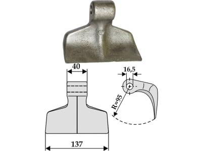 Industriehof® Hammerschlegel Arbeitsbreite 137 mm, Bohrung 16,5 mm, Einbaumaß 40 mm, für Mulcher: Agricom, Agritec, Berti, Breviglieri, M.E.A.A.T., Oehler, Vigolo, 63-RM-6