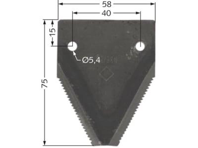Messerklinge 75 x 58 x 2,0 mm, gezahnt, für Mörtl
