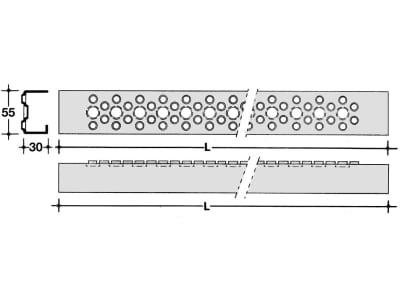 Leitersprosse, L x B 300 x 55 mm, breit, blank