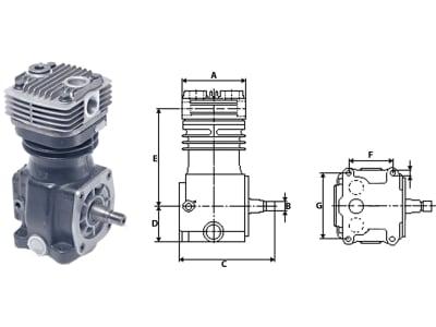 """Wabco Kompressor """"HDR"""", 1-Zylinder, Kühlung Luft"""