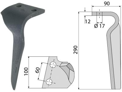 Industriehof® Kreiseleggenzinken links 100 x 290 x 12 mm, Bohrung 17 mm für Feraboli, Frost, RH-FER 01L