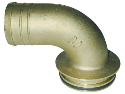 Hücobi Schlauchanschluss, Ø 60 mm, 90 °, gebogen, für MZ Syphonabscheider aus Messing