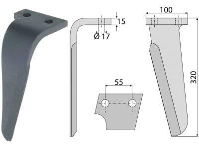 Industriehof® Kreiseleggenzinken links/rechts 100 x 320 x 15 mm, Bohrung 17 mm für Celli, Perugini