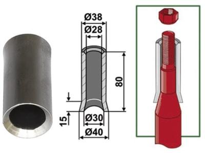 Industriehof® Einschweißbuchse Ø innen 30 mm; 28 mm, Ø außen 40 mm; 38 mm, 18100-9