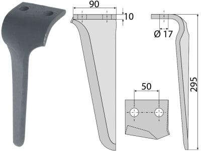 Industriehof® Kreiseleggenzinken links 90 x 295 x 10 mm, Bohrung 17 mm für Maschio, RH-66 L