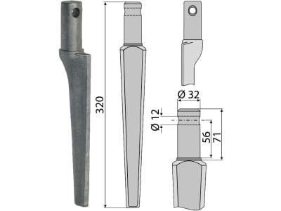 Industriehof® Kreiseleggenzinken links/rechts, 320 mm, Bohrung 12 mm für Kongskilde, Pegoraro, RH-47