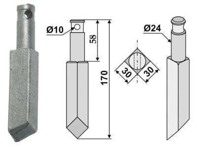 Industriehof® Rotorzinken links/rechts 170 x 30 x 30 mm, Bohrung 10 mm für Rau, RH-74