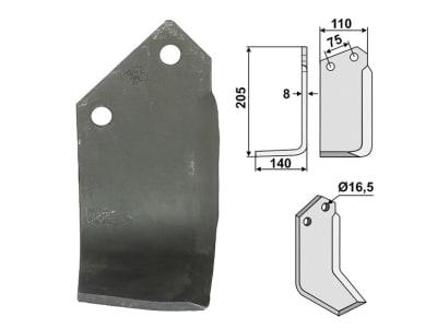 Industriehof® Fräsmesser links/rechts 205 x 110 x 8 mm, Bohrung 16,5 mm für Krone