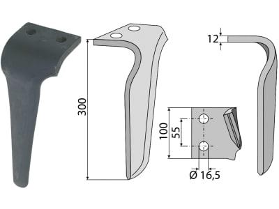 Industriehof® Kreiseleggenzinken rechts 100 x 300 x 12 mm, Bohrung 16,5 mm für Frandent, RH-FRN 01R