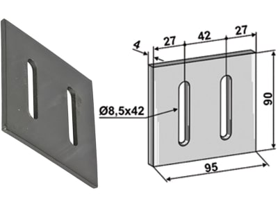 Industriehof® Abstreifer 90 x 95 x 4 mm, Bohrung 42 x 8,5 mm für Maschio, 51-M202