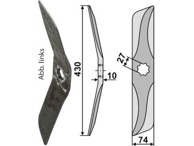 Industriehof® Rollspatenmesser links/rechts 430 x 74 x 10 mm Bohrung 27 mm für Hankmo-Tume Sampo