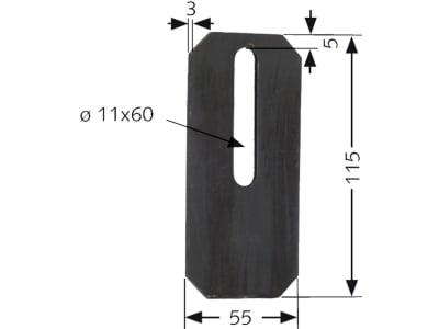 Industriehof® Abstreifer 115 x 55 x 3 mm, Bohrung 60 x 11 mm für Amazone, 51-A101