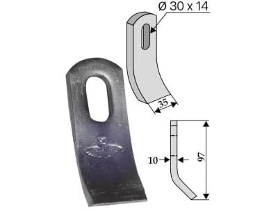 Industriehof® Schlegelmesser 97 x 35 x 10 mm, Bohrung 30 x 14 mm, für Votex, Zappator, 63-ZAP-29