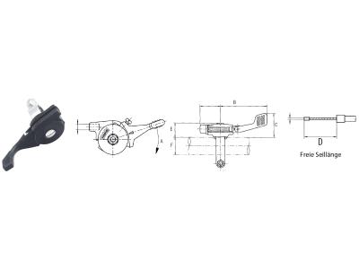 Regulierhebel links Magura 14, 150 °, Hub 42 mm, E 19 mm, Übersetzung 1:4,5