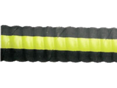 Saug- und Druckschlauch, abrieb- und wetterbeständiger Synthesekautschuk mit gelbem Kennstreifen, Gewebeeinlage, ein Stahldrahtwendel