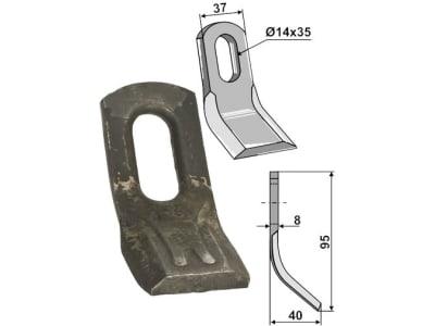 Industriehof® Y-Messer 95 x 37 x 8 mm, Bohrung 35 x 14 mm, für Mulag, Rousseau, S.M.A., 63-ROU-51