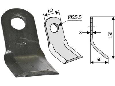 Industriehof® Y-Messer 150 x 60 x 8 mm, Bohrung 25,5 mm, für Mulcher: Eberle, Fehrenbach, Sauerburger, 63-SAU-04