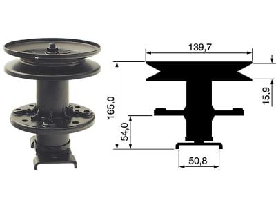 Messerspindel, Höhe bis Flansch 54 mm, Höhe bis Oberkante 165 mm für Bolens, Gutbrod etc.