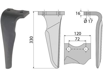 Industriehof® Kreiseleggenzinken links/rechts 120 x 330 x 16 mm, Bohrung 17 mm für Niemeyer