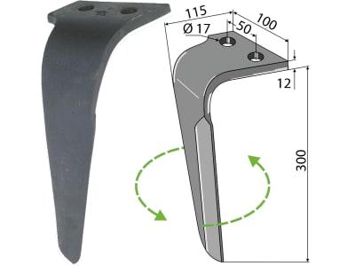 Industriehof® Kreiseleggenzinken links/rechts 100 x 300 x 12 mm, Bohrung 17 mm für Rau