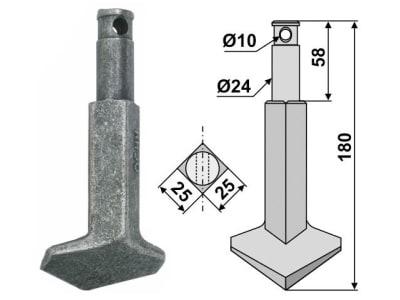Industriehof® Rotorzinken links/rechts 180 x 25 x 25 mm, Bohrung 10 mm für Rau, RH-90