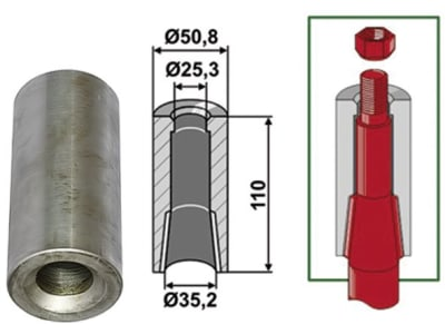 Industriehof® Einschweißbuchse Ø innen 25,3 mm; 35,2 mm, Ø außen 50,8 mm, für Zinken mit Verdrehsicherung, 18100-50