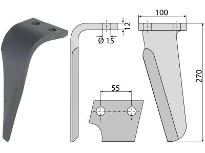 Industriehof® Kreiseleggenzinken links 100 x 270 x 12 mm, Bohrung 15 mm für Celli, Perugini, RH-PRG-02L