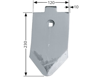 Frank Scharspitze 120 x 10 mm gehärtet, aufgepanzert für Lemken: Grubber Smaragd