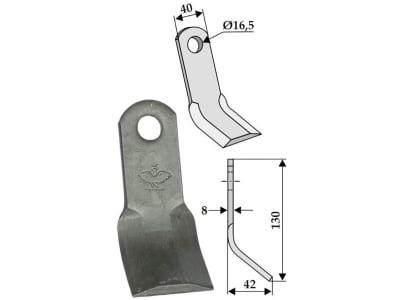 Industriehof® Y-Messer 130 x 40 x 8 mm, Bohrung 16,5 mm, für Kuhn, Nobili, Orsi, Vogel & Noot, Wiwexa, 63-NOB-16