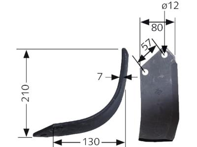 Industriehof® Fräsmesser links/rechts 210 x 130 x 7 mm, Bohrung 12 mm für Agricom, Breviglieri, Howard